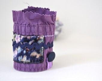 purple wrist cuff - purple textile art collage bracelet - vintage velvet trimms cuff - fabric cuff - blue and purple goth steampunk cuff