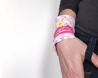 shabby wrist cuff in pink and yellow - springtime textile bracelet - neon details - comfortable and lightweight pink girly fabric cuff