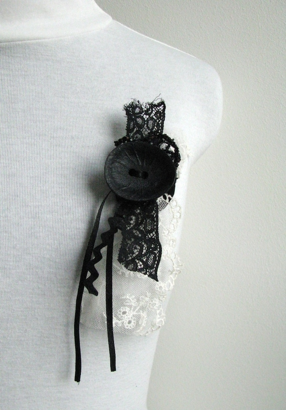black and white lace brooch - vintage lace, ribbons, button brooch - black and white mori girl brooch - gift for her
