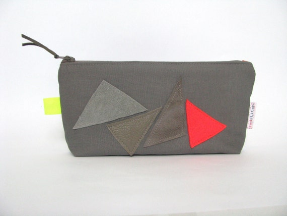 modern minimal fun makeup bag - toiletry bag - pencil pouch - neon orange and leather triangles - grey zipper bag - free shipping - for him