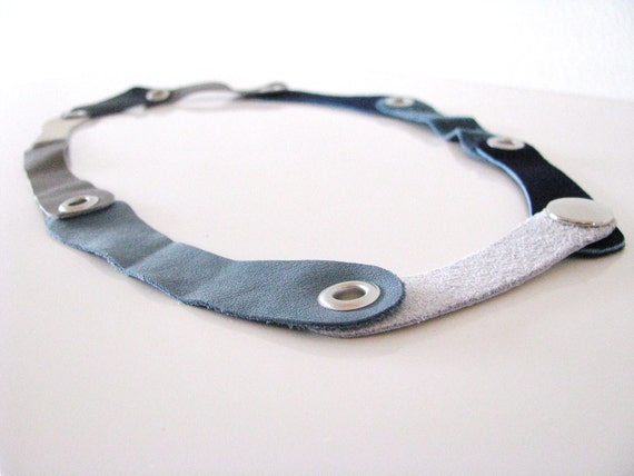 leather necklace - LIAISONS series - blue grey and white tones