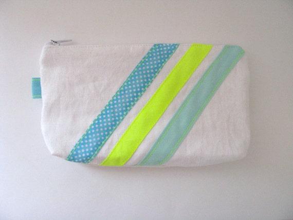 SALE white striped modern zipper pouch - pencil pouch - neon yellow - free shipping