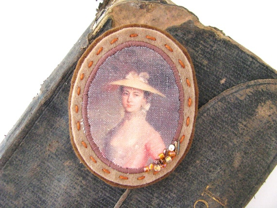 sale felt cameo brooch - felt jewelry brooch - apricot and camel brooch with portrait - cameo style - lovely lady with hat