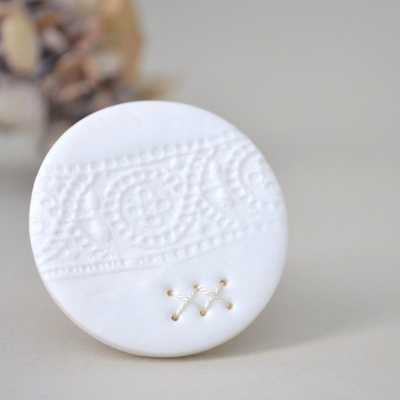 white lace imprint brooch - round white textured polymer clay brooch - free shipping