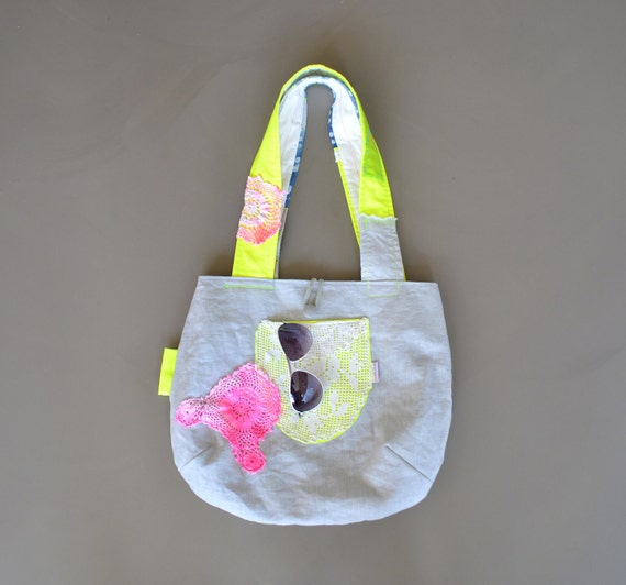 reversible tote bag with neon details - bleached jeans shoulder bag - neon doily