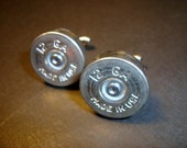 Shotgun Shell 12 Gauge Nickel Silver Cufflinks - Fast Shipping - Great Gift Wedding Groom Groomsmen