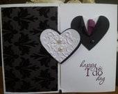 Wedding Card  Black/White Bride & Groom Hearts