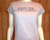 """Peach Carr Project Runway ladies' size SMALL """"Good China"""" T-Shirt"""