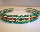 Red and Green Christmas Bracelet with Swarovski Crystals