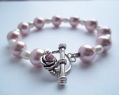 Pink Hematite Pearl Chunky Bracelet with Toggle Clasp