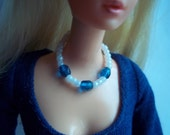 Necklace for Barbie Doll Sea Blue Faceted Glass