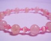Rose Quartz and Catseye Continuous Bracelet