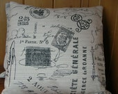 """Two (2) Ivory Decorative French Script Pillow Covers with Vintage Black  Postmarks and Addresses Made to Fit 18"""" Pillow"""