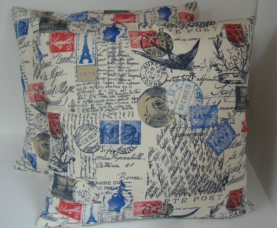 """Two (2) Decorative French Script Pillow Covers - Postal  - Cream with Red, Blue Stamps - 18"""" x 18"""""""