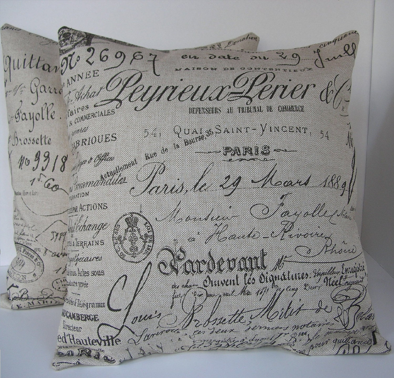 Throw Pillows With French Script : Two 2 Decorative French Script Pillow Covers Beige with