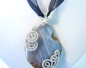 Faceted Grey Agate Silver Coiled Pendant