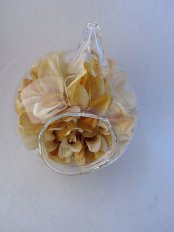 Hanging or Seated Glass Orb- Cream Yellow Flowers