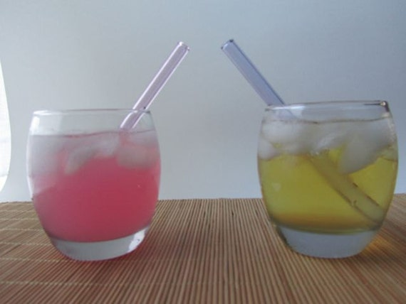 Set of Six Multi Colored Short Glass Straws