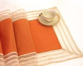 Table Runner modern elegant peach orange with striped transparent organza border modern table overlay cute young girl's home decoration