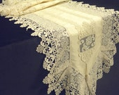ooak lace table runner ecru Silk opulent table overlay unique rich lace classic eclectic home decoration luxury wedding table runner