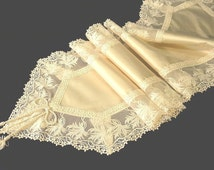 Ecru silk table runner with Viennese lace border High-End furniture decoration luxury lace dining tabletop decor opulent wedding cake table