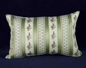 Pillow case throw pillow original classic style OOAK green beige stripes bordeaux flowers 19th century upholstery sofa vintage decoration