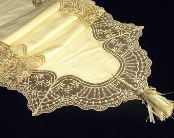 Table Runner Luxurious French Lace appliquéd on Silk : MILENA-02