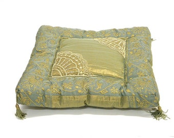 Spring fresh Pillow Throw, Cushion turquoise Luxury with Jacquard Taffetas Surface appliquéd  with French Lace and Swarovski Crystals