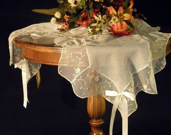 Wedding Chic Table Runner with embroidered tulle, small pink flowers and ecru embroidery on white chiffon romantic table decoration