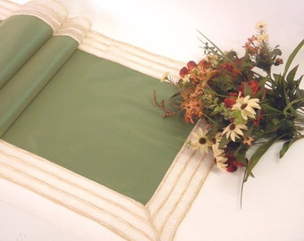 Spring green Table Runner modern coffee table decoration  elegant dining table decor, organza border with stripes tabletop decoration