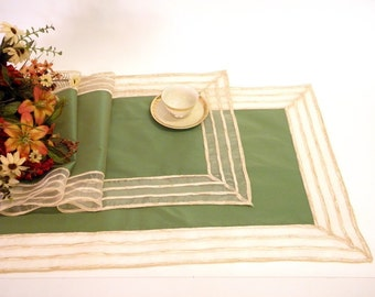 10% Discount for a Set of two Modern Spring Table Runners  green with a striped border for dining table decoration coffee tabletop decor