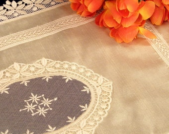 Wedding Handkerchief Silk Napkin table topper with lace Victorian embroidery Christmas table decoration mother of the bride gift shabby chic