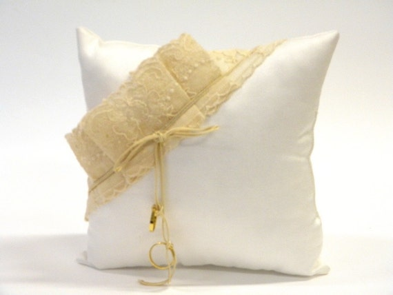 Wedding Ring pillow, gorgeous, white satin with beige lace