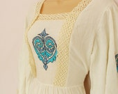Cyan - vintage 1980s embroidered cheesecloth dress M/L