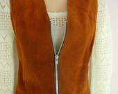 Haight-Ashbury - vintage 1970s suede waistcoat tunic M