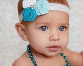 Baby Headband Flower Rose Rosette with Rhinestone Center Baby Blue, Turquoise, White