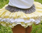 Baby Bloomer Baby Skirt Fabric Tutu All Around Ruffle Diaper Cover Bloomer Yellow Grey