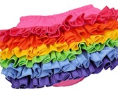 Pink Rainbow Mini Ruffle Diaper Cover Baby Bloomer