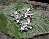6 pcs - Double Sided Alice in Wonderland Rabbit Bunny- Antique Silver Charms - 20x13mm