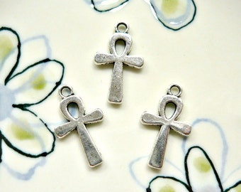 12pcs - Egyptian Ankh charms in Antique Silver - 22x13mm (AS)