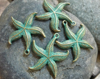 4 pcs - Handmade Faux Verdigris Patina Ocean Starfish Metal Charms - 27x23mm