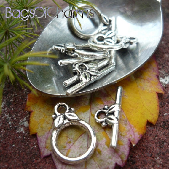 10 sets - Toggle Clasps in Antique Silver - 14x10mm