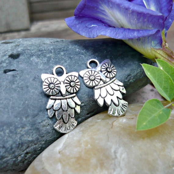 12pcs - Sparkling Eye Owl Charms in antique silver - 19x11mm