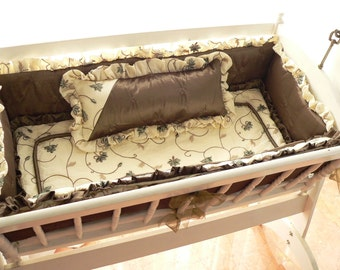 ON SALE--Ready to Ship Luxury Cradle Bedding-Custom Made One-of-a-Kind Infant bedding