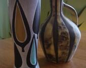 2 Mid-Century Pottery Vases Eames Era Made in Switzerland
