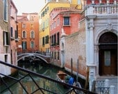Venice, Italy, Photograph, PASTEL CANAL REFLECTIONS, 16 x 20, Framed Canvas Gallery Wrap Print, Summer in Venice, Italy, Romance
