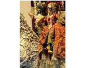CARNIVAL Masked Doll, Ornate Masked Doll In Ball Gown, Venice, Italy,  Travel Photograph, Window Display Still Life, The Mystic Of Carnival