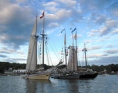 Nautical Decor Windjammers Photograph Boothbay Harbor, Maine, 10 x 8, Coastal Maine Summer