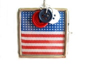 USA  Flag Locket, Red, White And Blue, 1.5 in (3.81cm) Square, 3 Cheers  For The Red, White, And Blue, Patriotic  Jewelry
