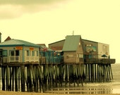 Summer Decor Antique Style Scenic Photograph, 12 x 8, The Pier, Old Orchard Beach, Maine, Dreamy Fantasy Photograph Maine Pier